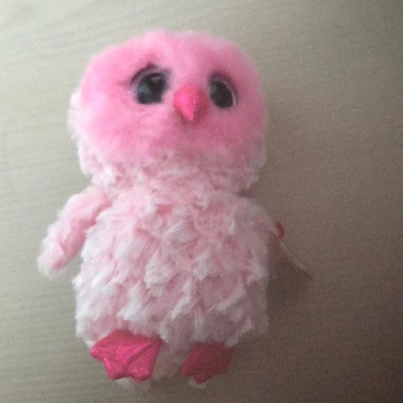"1878bd30c67 ""Twiggy"" pink owl beanie boo. NWT. ty"